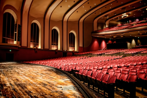 The stage of the Indiana University Auditorium